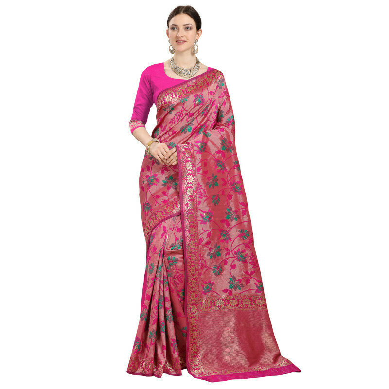 Blushing Pink Color Jaquard Saree