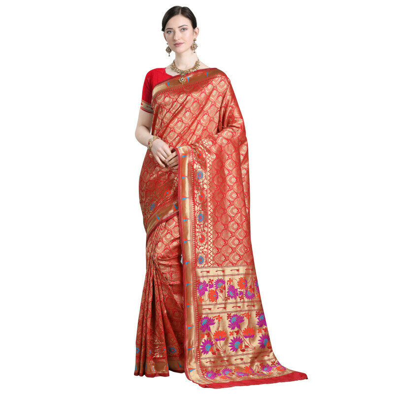 Excellent Red Color Heavy Jacquard Silk Work Saree