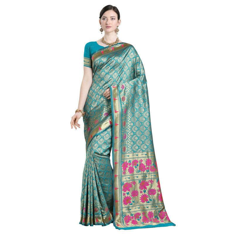 Excellent Sky Blue Color Heavy Jacquard Silk Work Saree