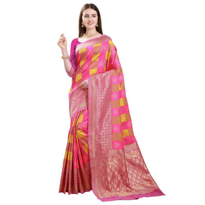 Pleasant Jacquard Checks Design Light Pink Saree
