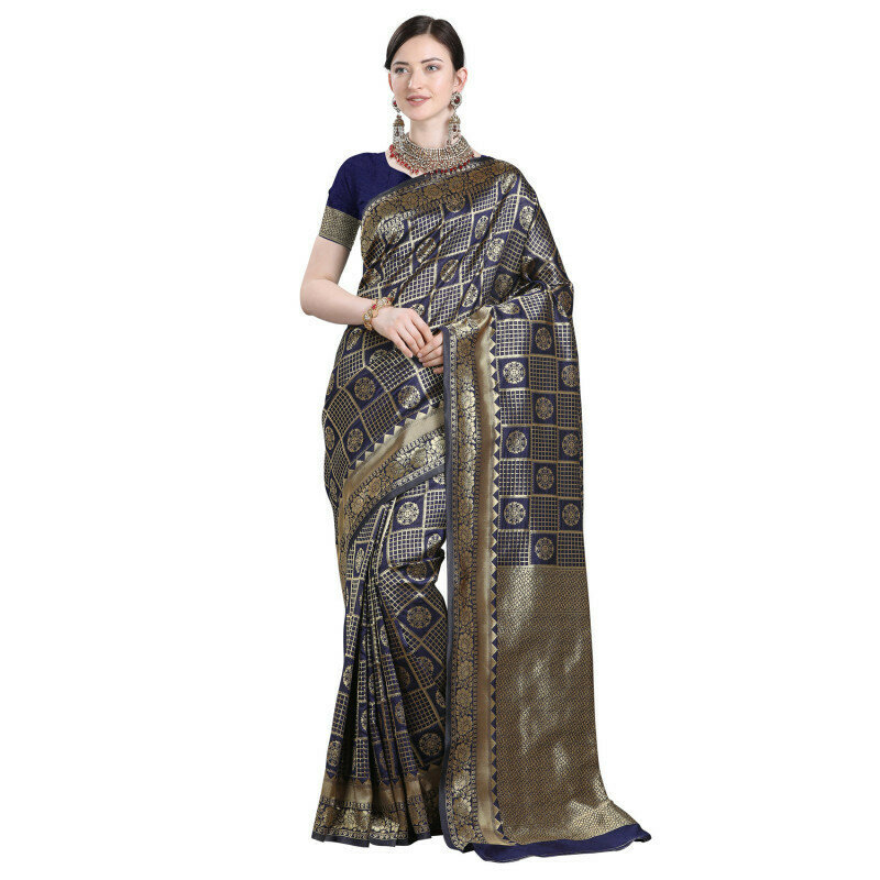 Glooming Navy Blue Color Jacquard Work Checks Design Saree