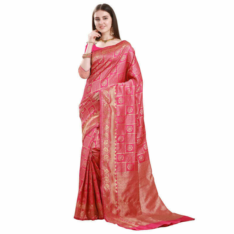 Glooming Pink Color Jacquard Work Checks Design Saree