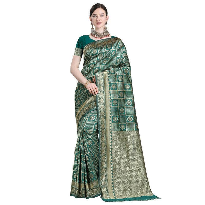Glooming Green Color Jacquard Work Checks Design Saree