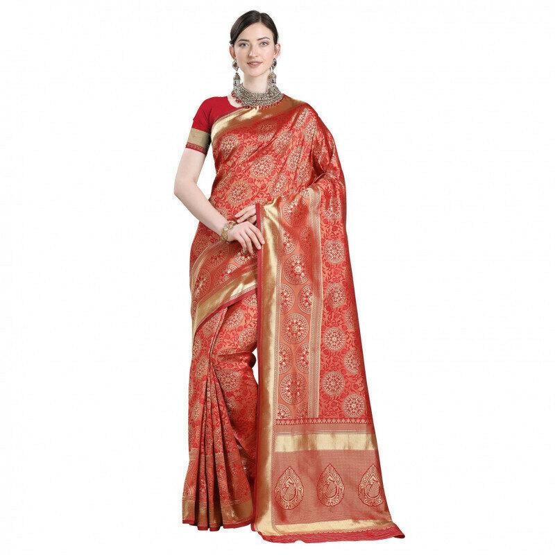 Demanding Golden Jacqurad Work Red Saree