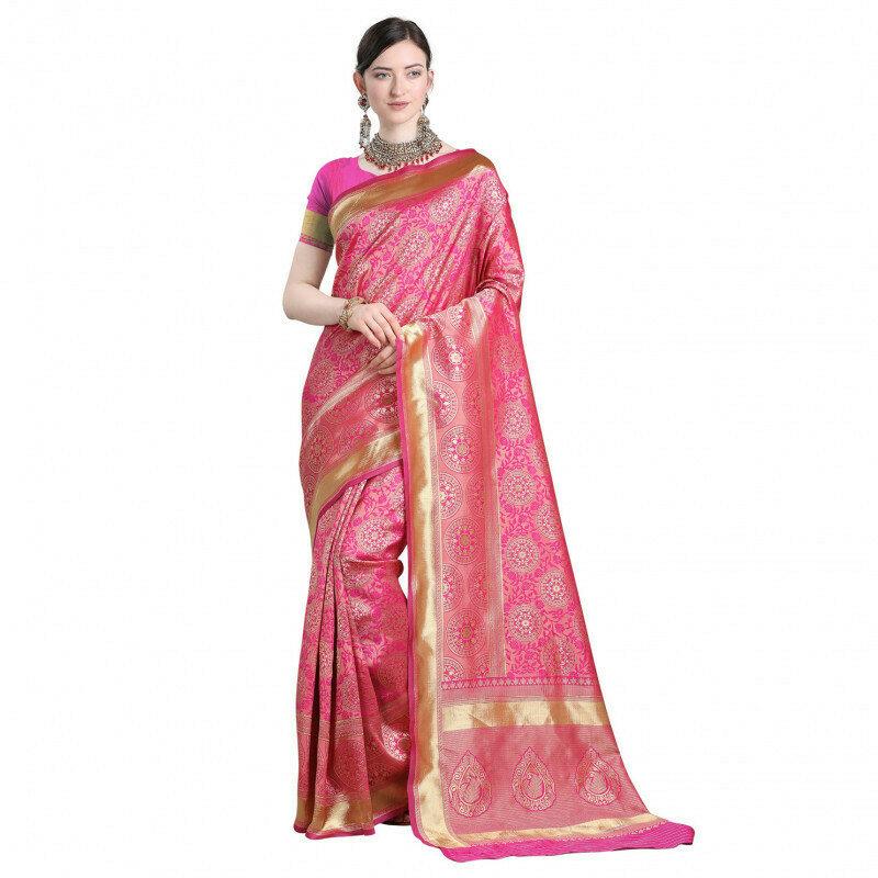 Demanding Golden Jacqurad Work Pink Saree