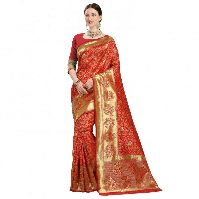 Fabulous Jacquard Work Red Saree