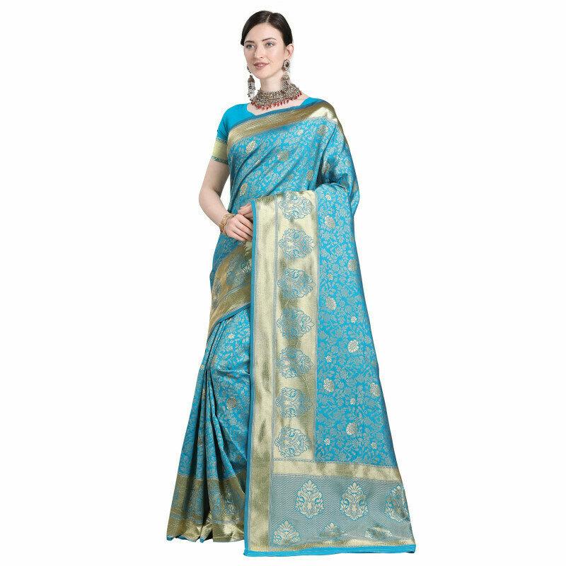 Fabulous Sky Color Jacqurad Silk Work Saree