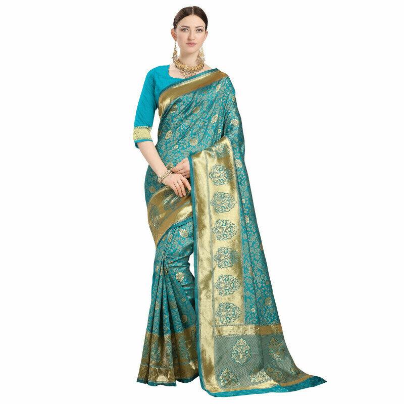 Fabulous Sky Blue Color Jacqurad Silk Work Saree