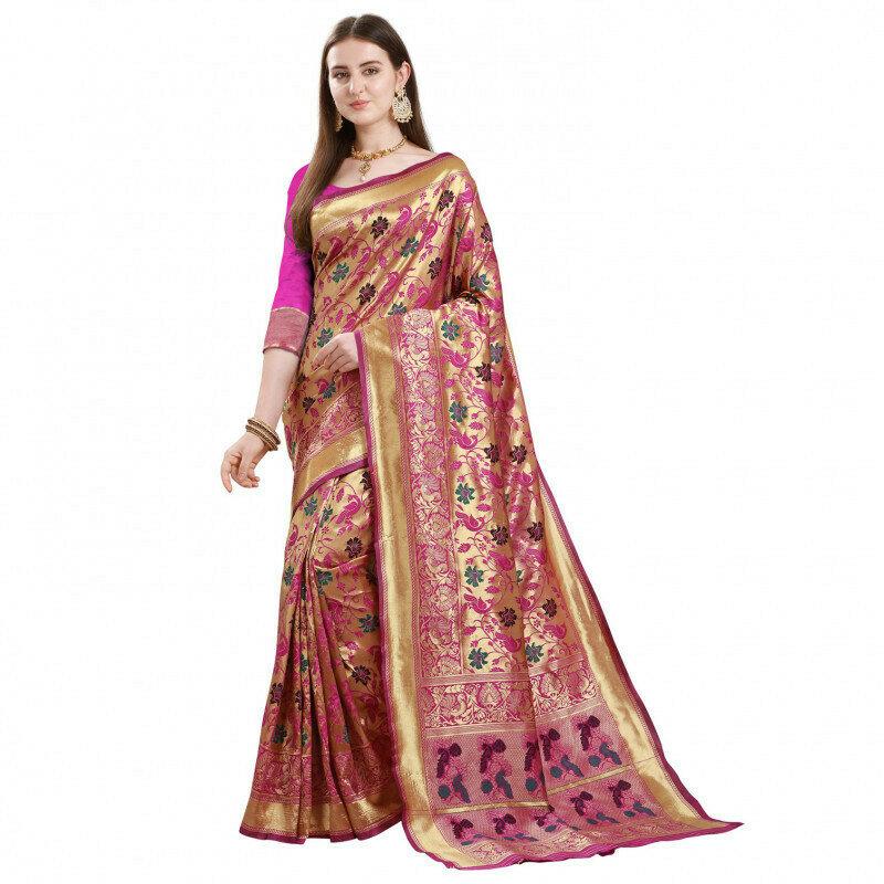 Fabulous Pink Color Jacqurad Silk Work Saree