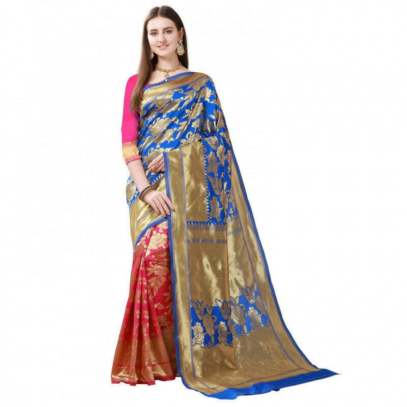 Weddign Wear Pink And Blue Flower Jacqurd Work Saree