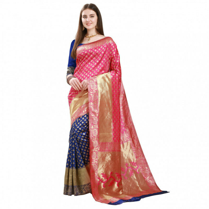 Flattering Pink With Blue Color Butti Jacquard Saree