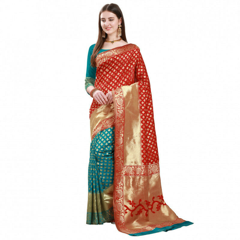 Flattering Red With Rama Color butti Jacquard Saree