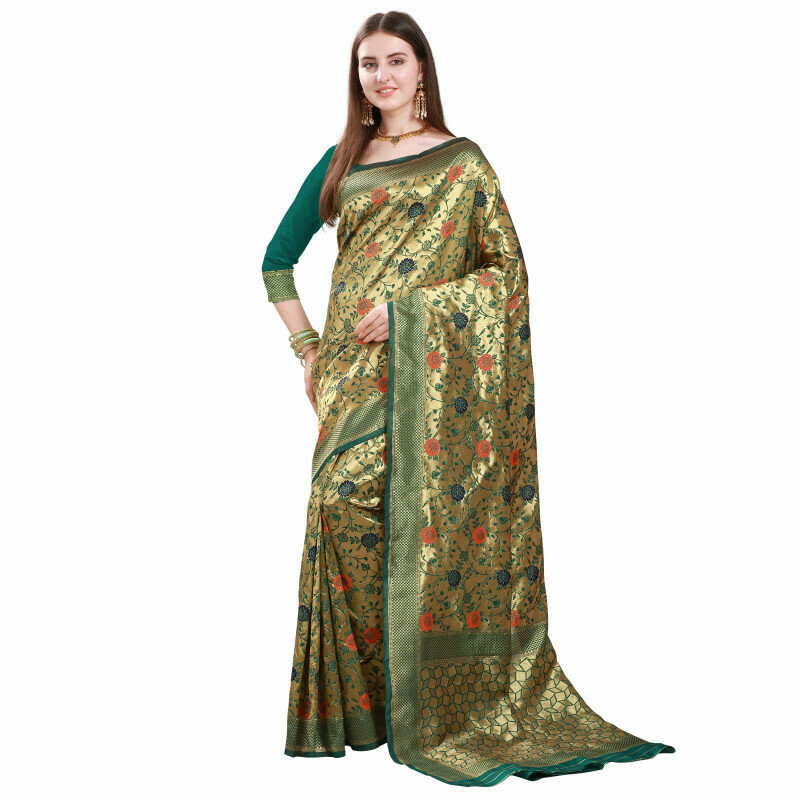 Radiant Green With Golden Jacquard Work Saree