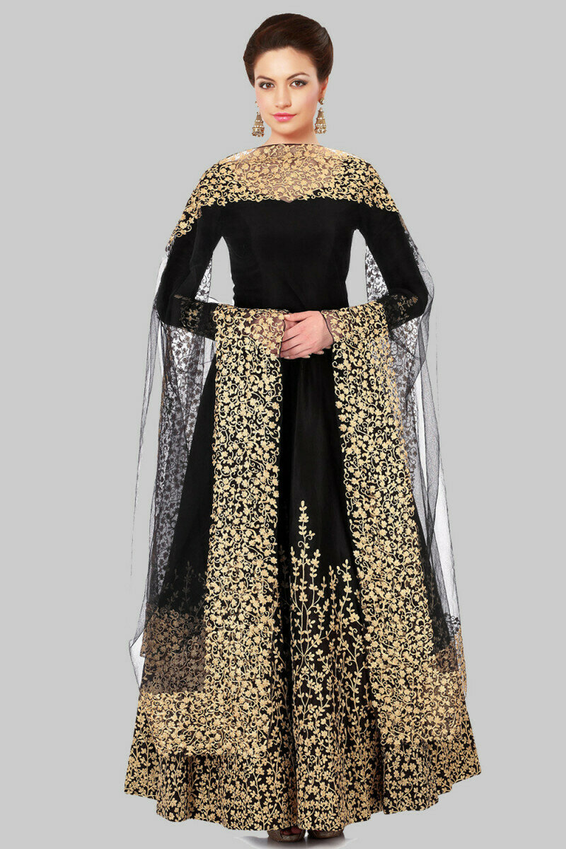 Glowing Black Silk Heavy Embroidered Gown