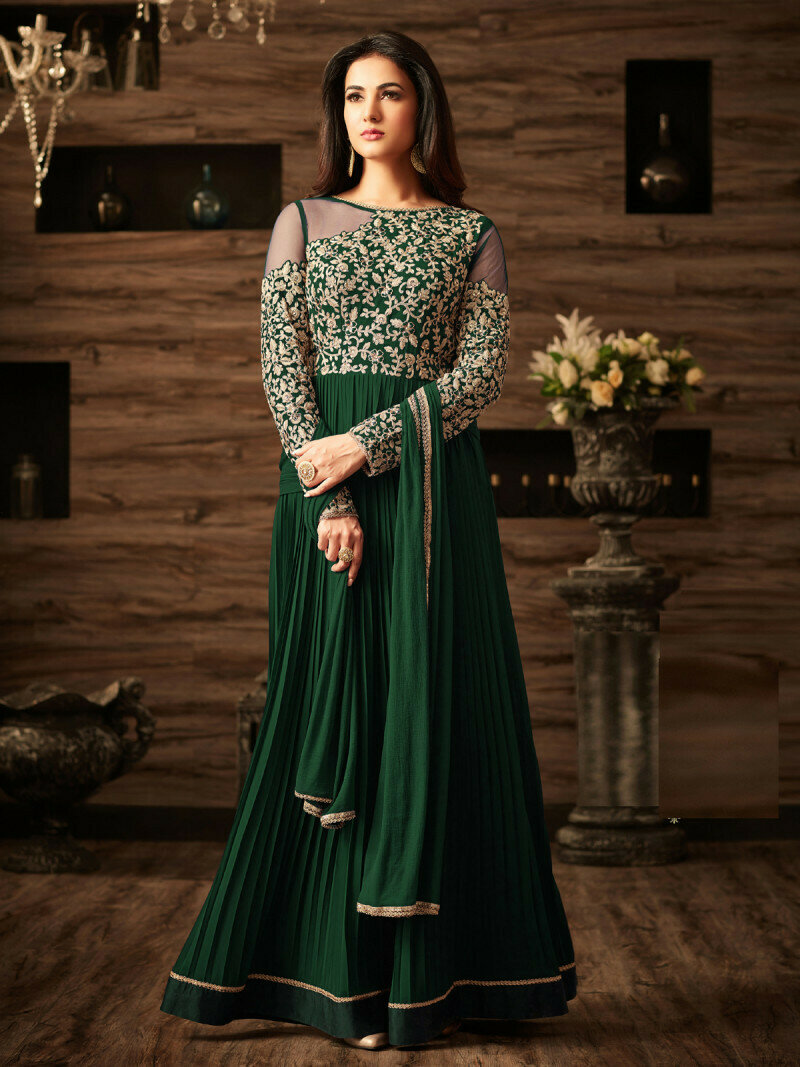 Sonal chauhan Wear Faux Georgette Heavy Upper Embroidered Green Gown