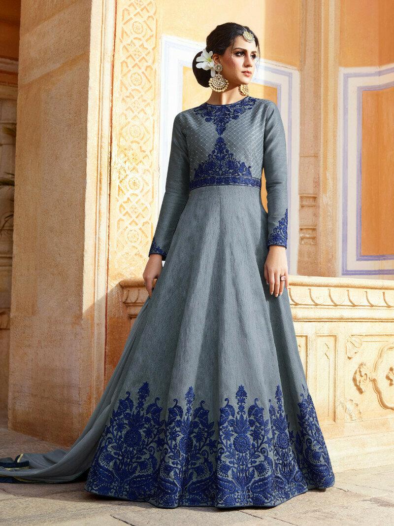 Heavy Melborn Silk Grey Heavy Embroidery Work Anarkali Suit