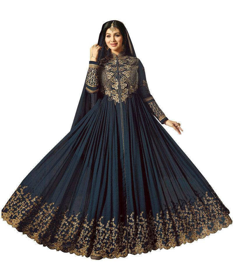 Gorgeous Ayesha Takia Wear Georgette Grey Heavy Work Salwar Suit