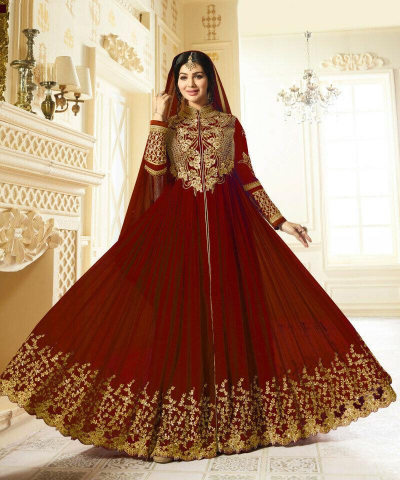 Gorgeous Ayesha Takia Wear Georgette Red Heavy Work Salwar Suit