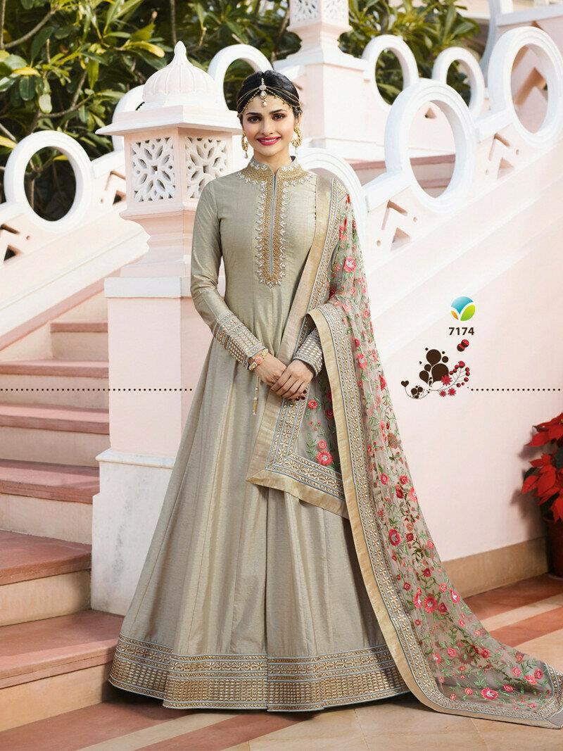 Prachi Desai Wear Grey Heavy Embroidered  Chennai Silk Salwar Suit