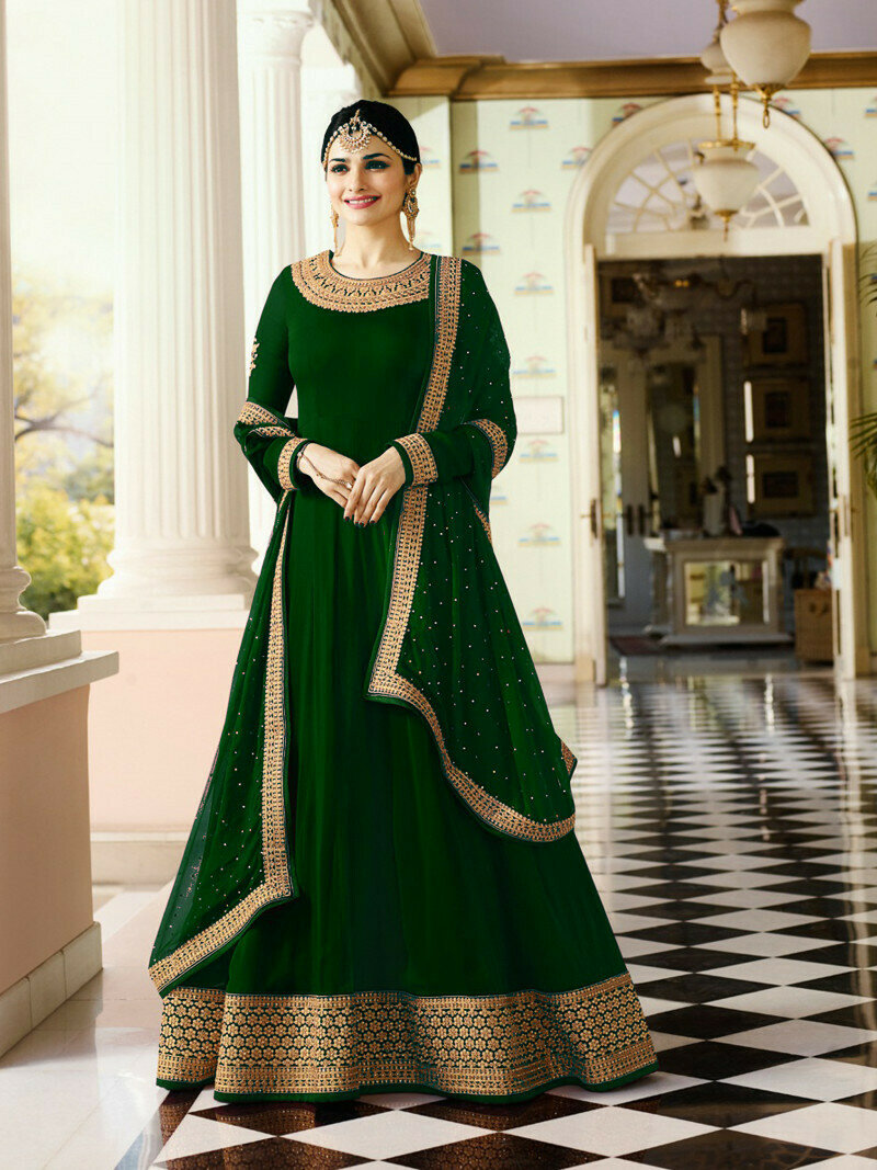 Prachi Desai Faux Georgette Green Embroidered Salwar Suit