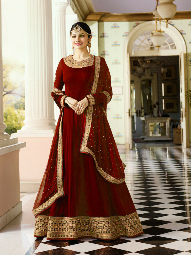 Prachi Desai Red Georgette Heavy Embroidered Salwar Suit