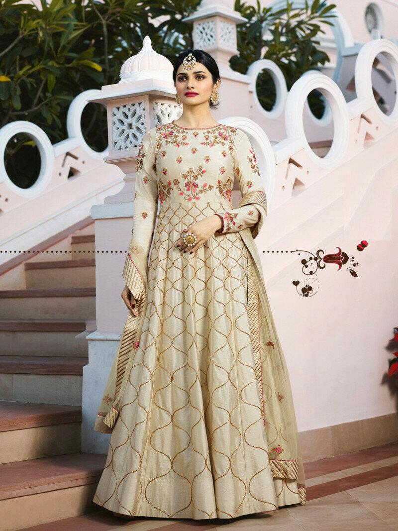 Prachi Desai Beige Embroidered Chennai Silk Salwar Suit