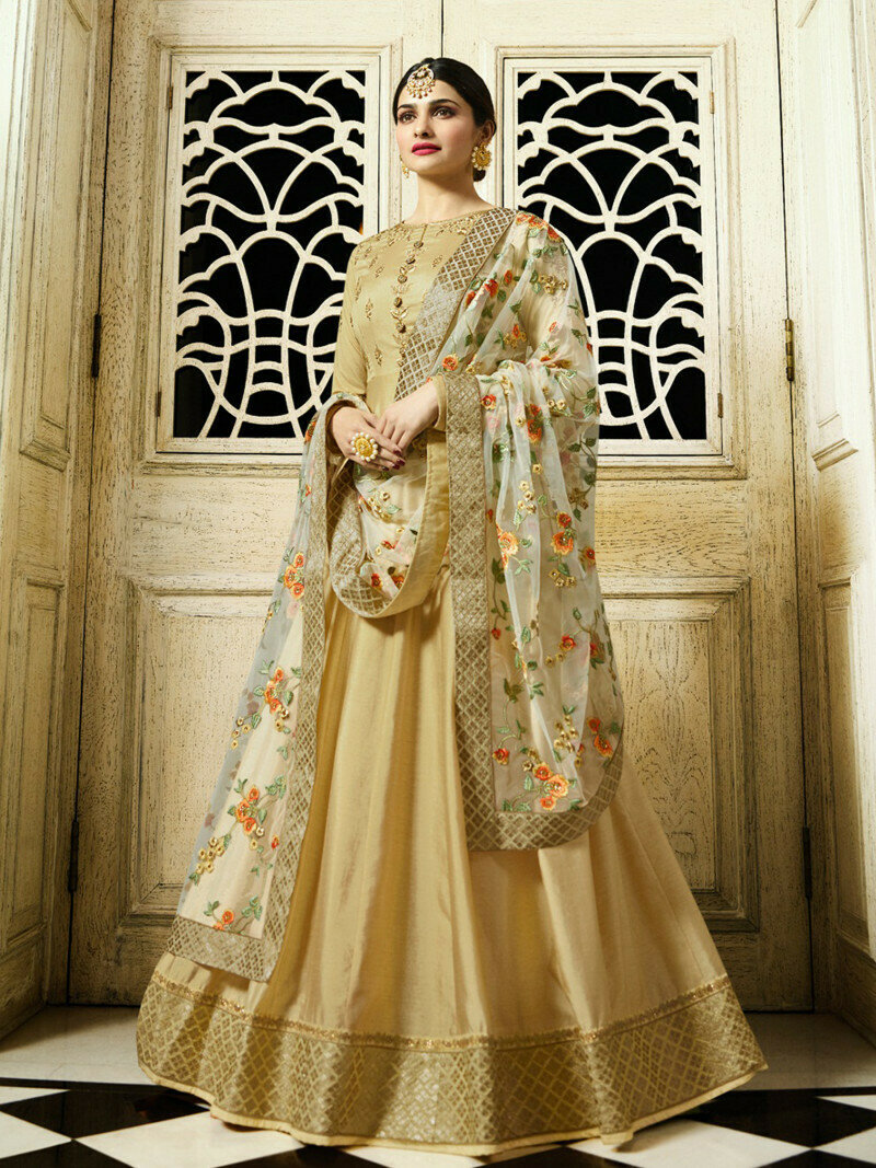 Prachi Desai Beige Heavy Embroidered Georgette Salwar Suit