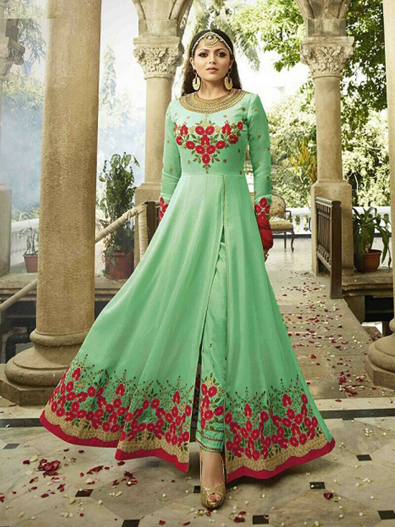 Admiring Embroidered Faux Georgette Light Green Salwar Suit