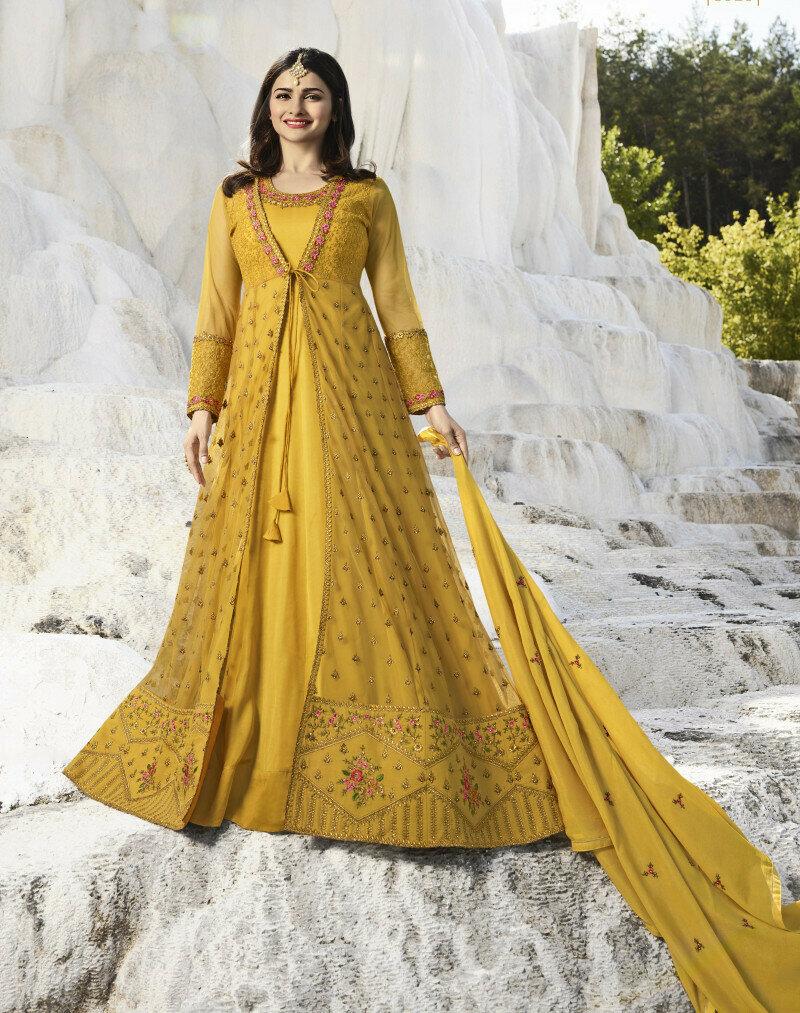 Prachi Desai Stunning Nylon Net Embroidered Full Gown