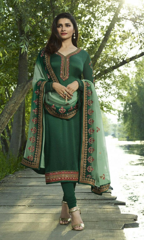 Prachi Desai Green Georgette Dupatta Churidar Suit