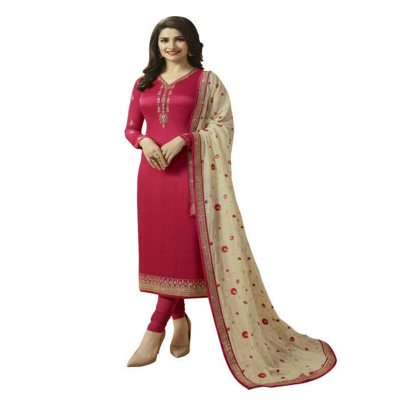 Prachi Desai Pink Georgette Churidar Suit