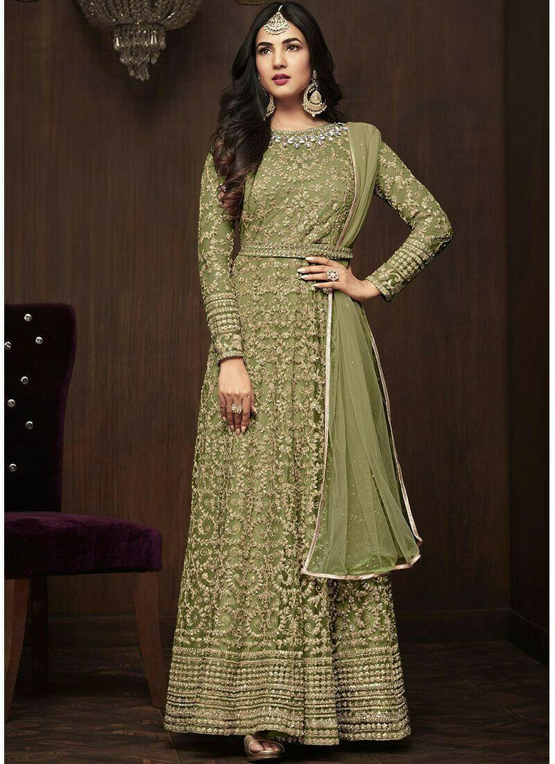 Glowing Green Embroidery Nylon Net Anarkali Suit