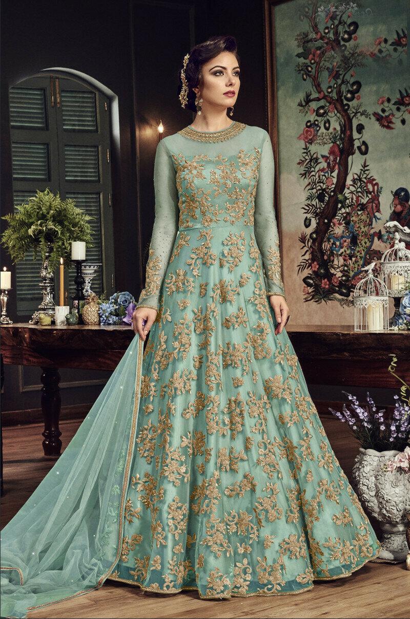 Glorious Blue Embroidered Nylon Net Anarkali Suit
