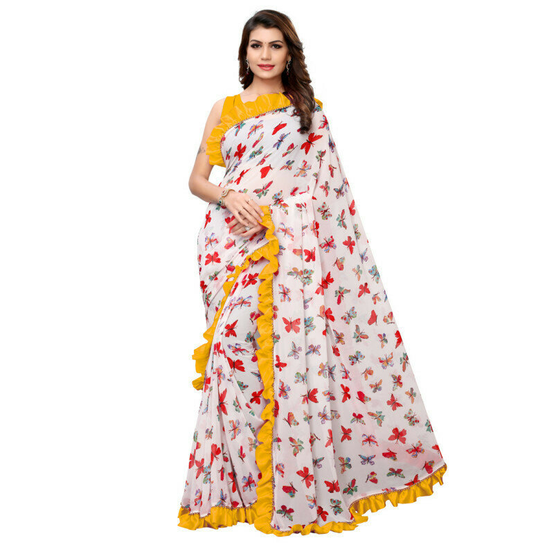 Classy Georgette Yellow And White Ruffled Printed Saree