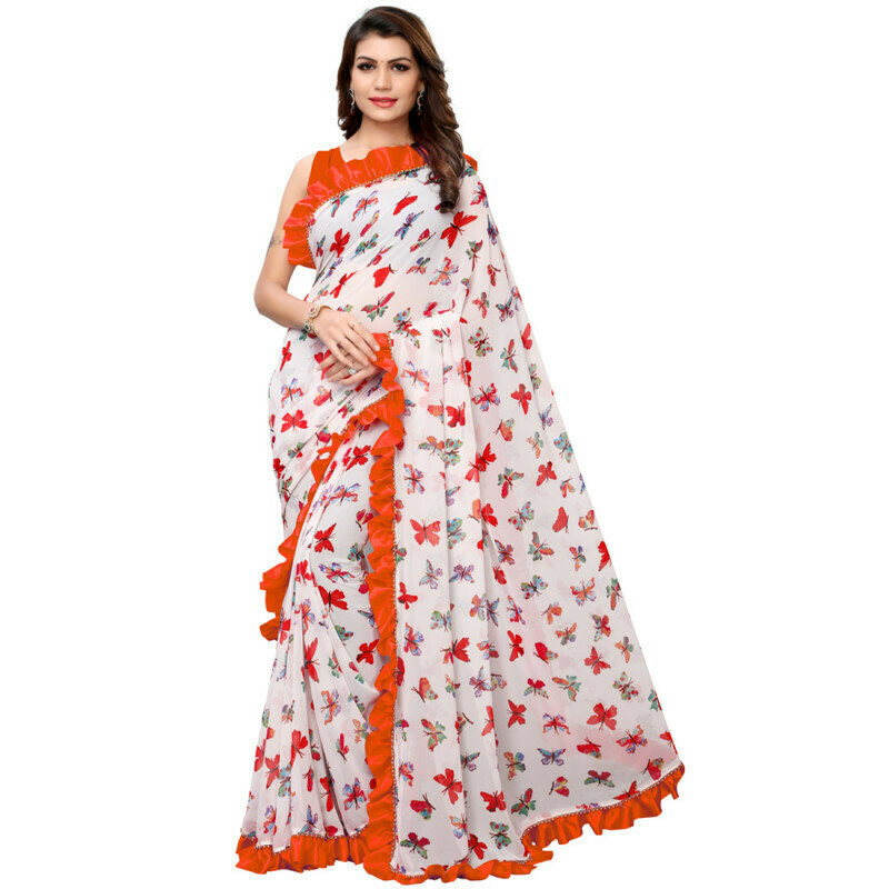 Classy Georgette Orange And White  Ruffle Border Saree