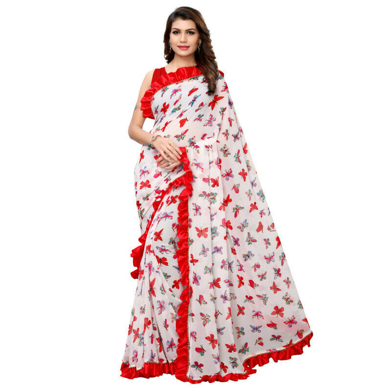 Classy Georgette Red And White  Ruffle Border Saree