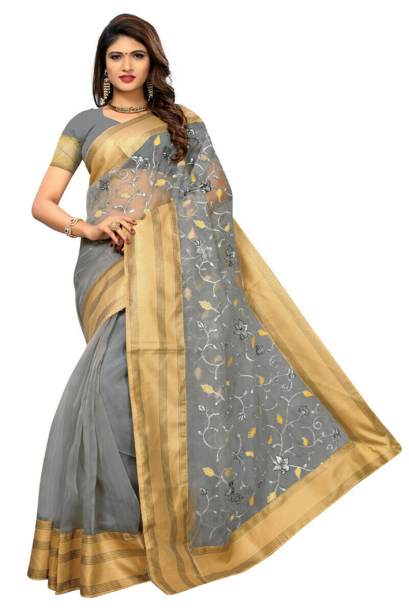 Charming Poly Net Grey� Embroidered  Saree With Blouse