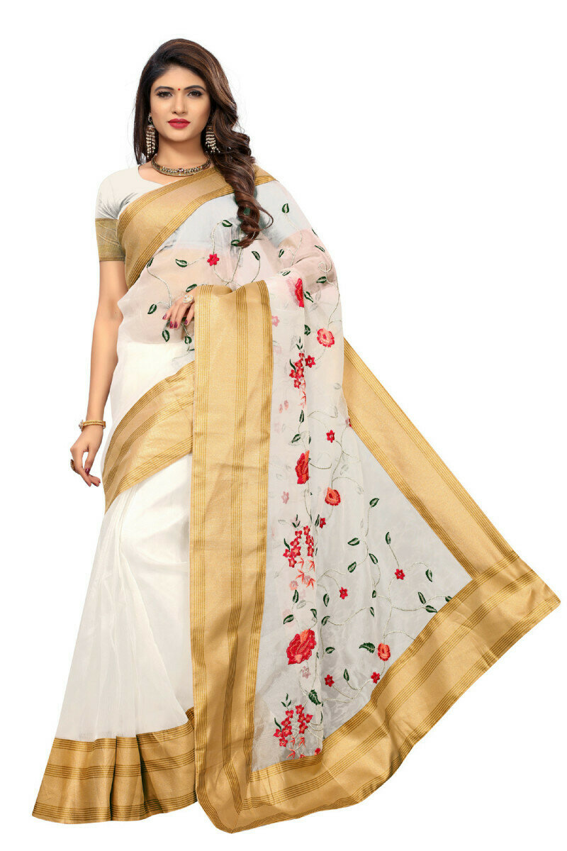 Charming  Poly Net White  Embroidered Saree With Blouse