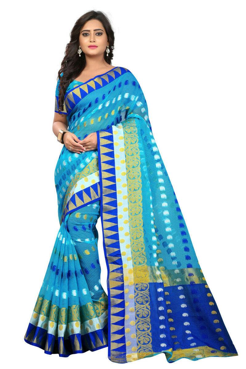 Exellent Blue Jacquard Saree