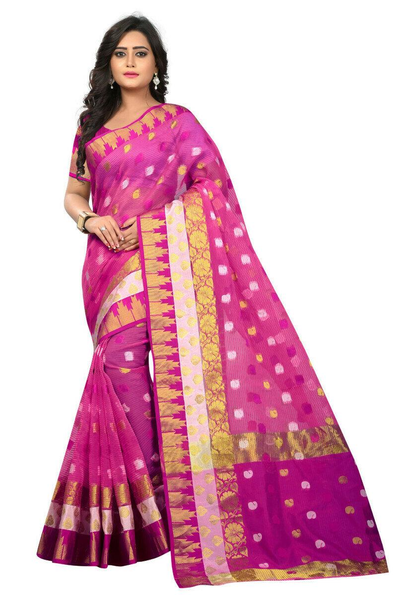 Glorious Jacquard Pink Saree With Blouse