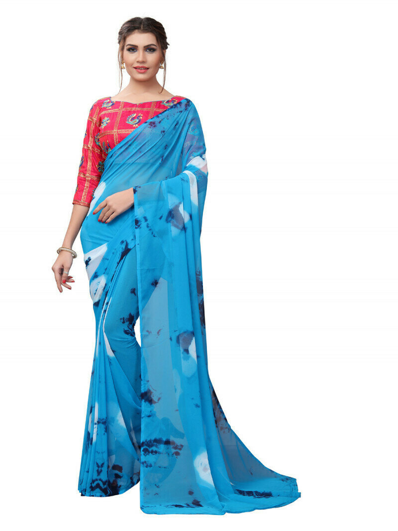Latest Blue And Pink Georgette Printed Saree
