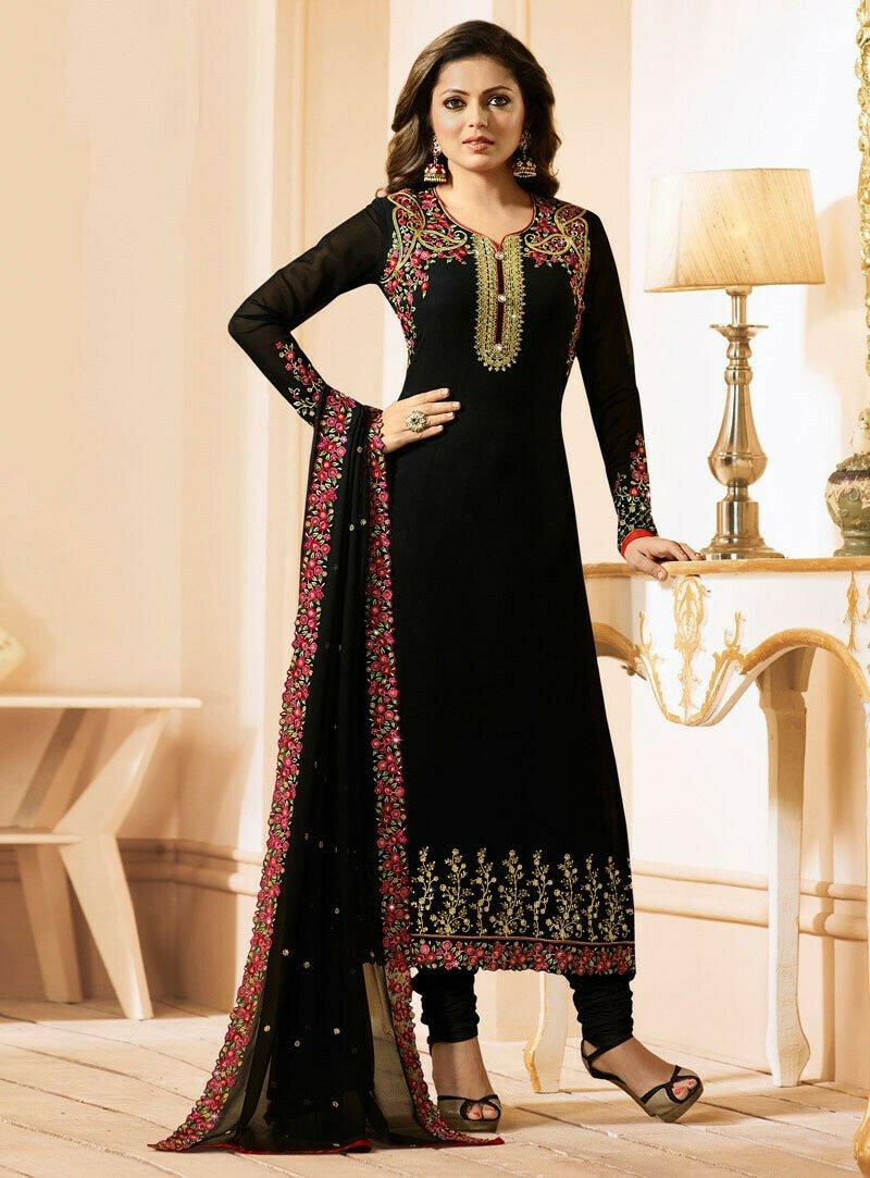 A-Line Drasht Dhami Wear Black Georgette Salwar Suit