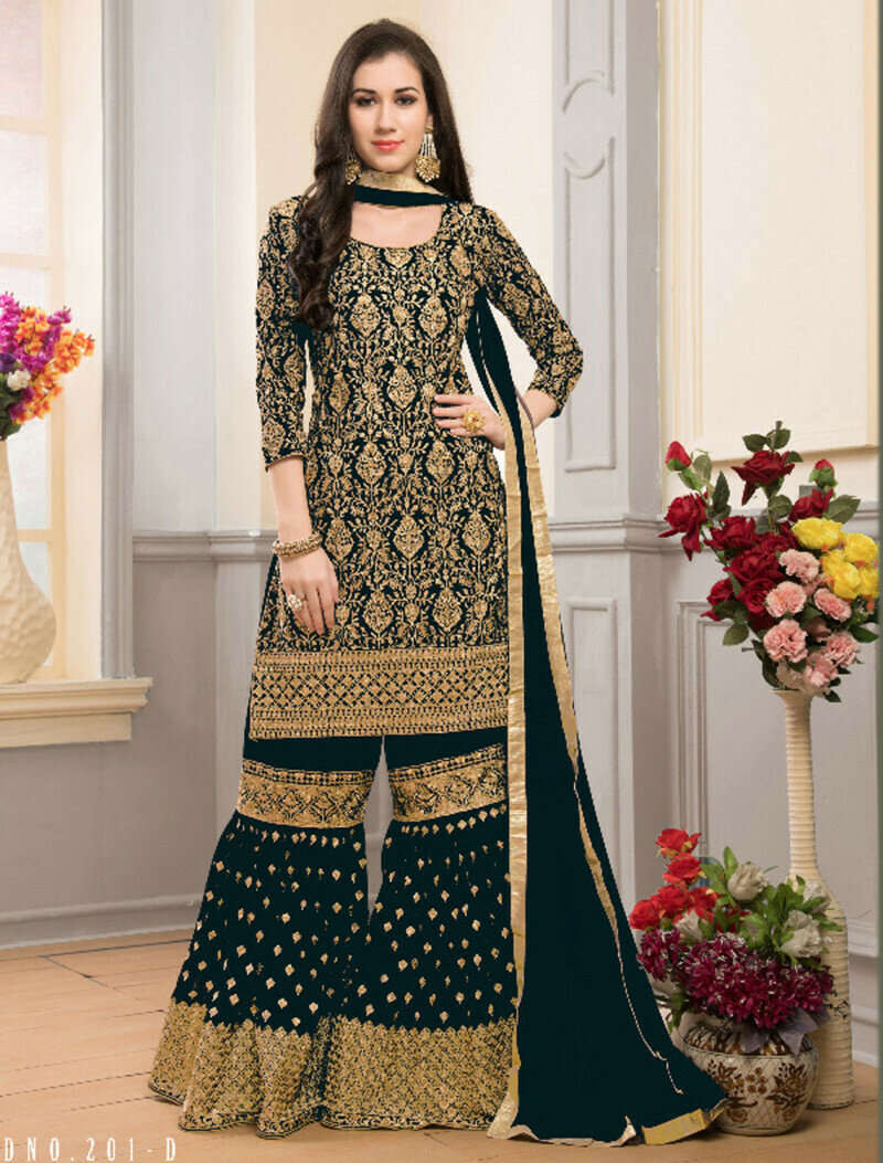 Drashti Dhami Wear Georgette Embroidered Green Sharara Suit
