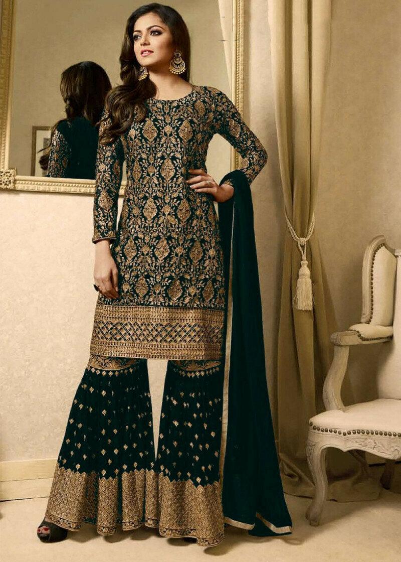 Drashti Dhami Wear Georgette Embroidered Green Sharara Suit