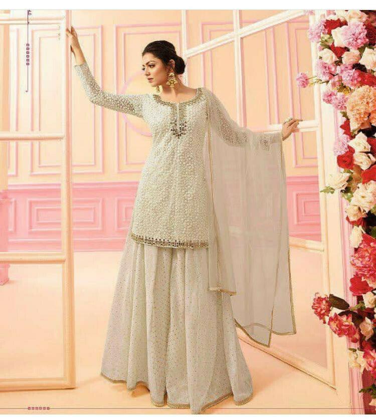 Drashti Dhami Wear Satin Georgette  Off White Embroidered Sharara suit