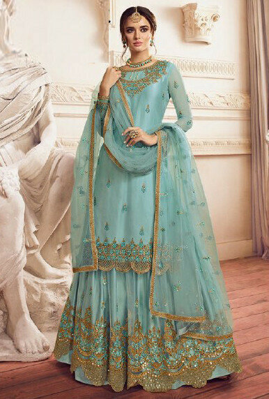 Meticulous Light Blue Color Sharara Suit