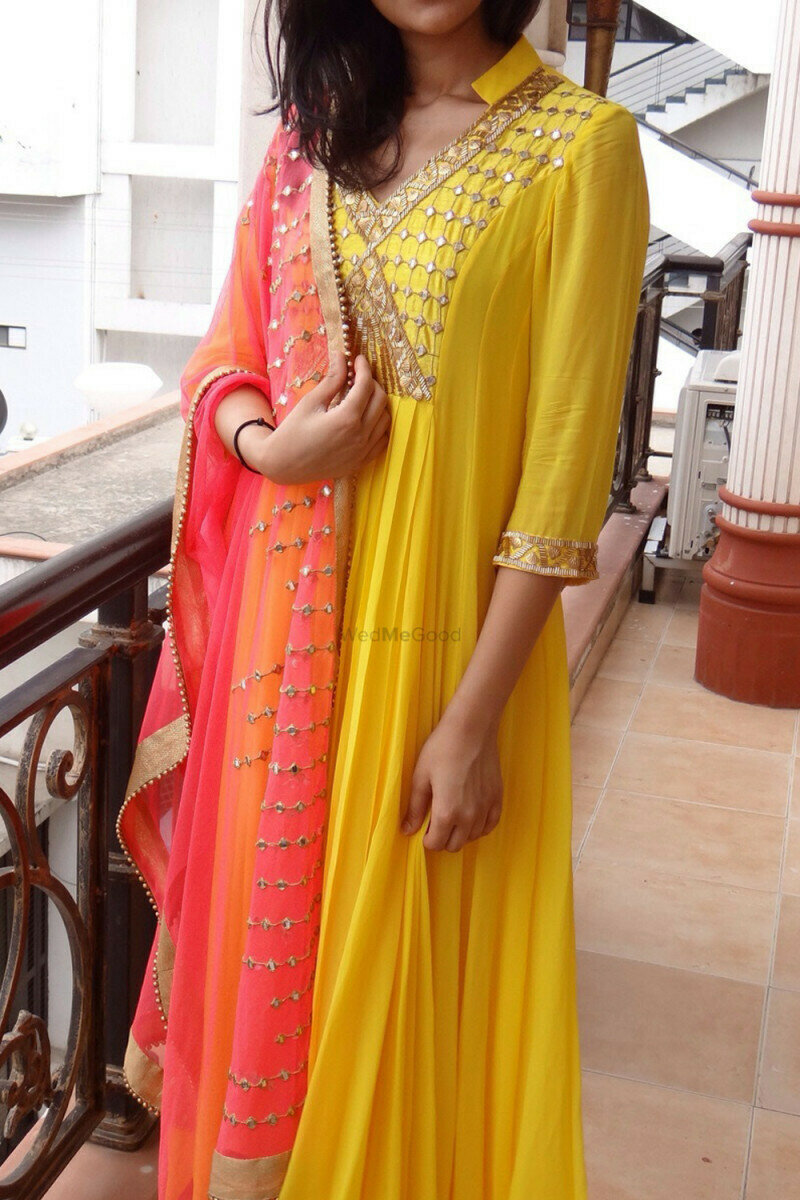 Awesome Yellow & Orange Mirror Work Goergette Salwar Suit