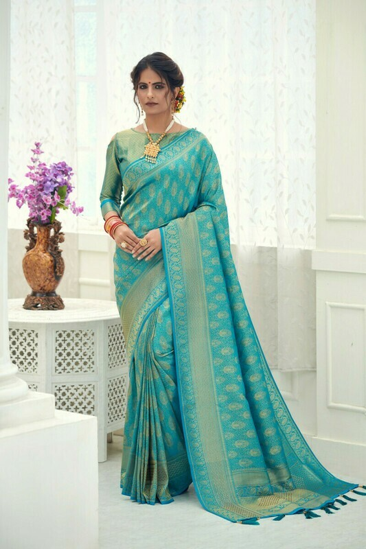 Banarasi Silk Sky Blue Saree