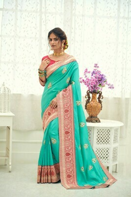 Designer Diamond Work Saree In Sky Blue
