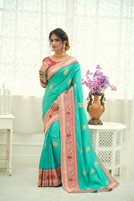Designer Diamond Work Saree In Sky Blue